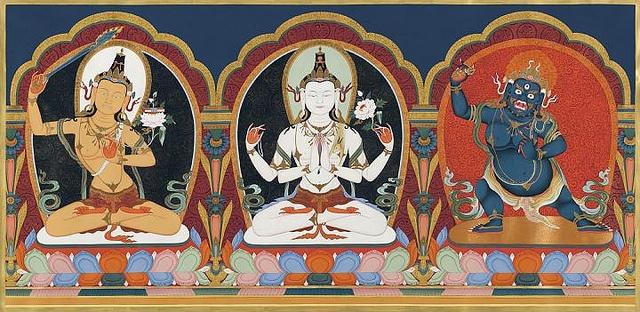 Avalokiteshvara, Manjushri and Vajrapani